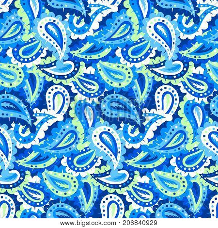 Blue paisley vector seamless pattern. Bold bohemian print with ethnic and tribal motifs of India, Turkey, Morocco, Marrakesh. Bright vintage background in boho chic style for textile design