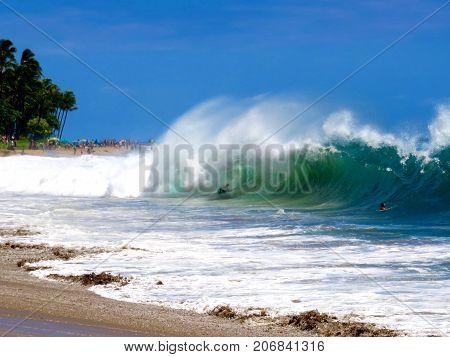 Body Boarder in Powerful Shore Break on Kaanapali Beach, Lahaina, Maui, Hawaii
