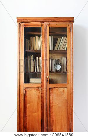 Antique Wooden Case Shelves Full Ancient Books Light Wall
