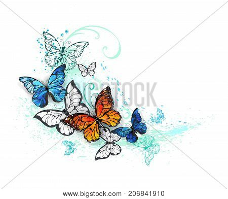 Realistic butterflies blue Morpho and orange monarchs on a white background painted with green and blue paint. Morpho. Monarch butterfly. Design with butterflies.