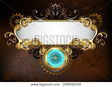 Mechanical banner with an antique clock decorated with gold and brass gears on a brown rusty background. Steampunk style.