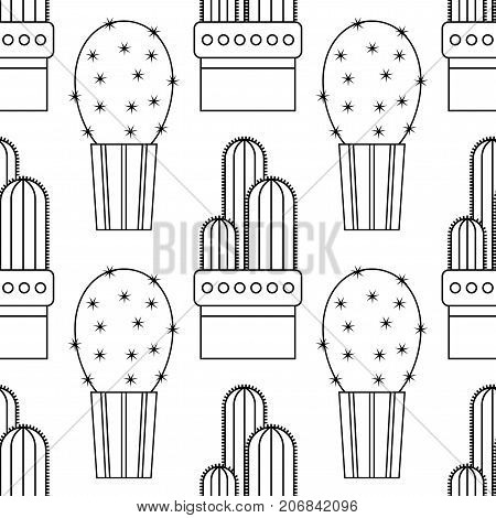Black and white seamless pattern of cacti and succulents for coloring books, pages. Vector illustration