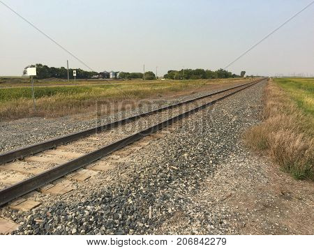 Empty Railway Track Stretching Off to Horizon