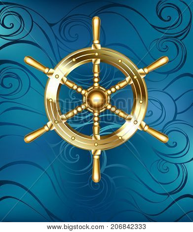 Gold jewelry shiny steering ship wheel on a sea blue background. Golden ship wheel.