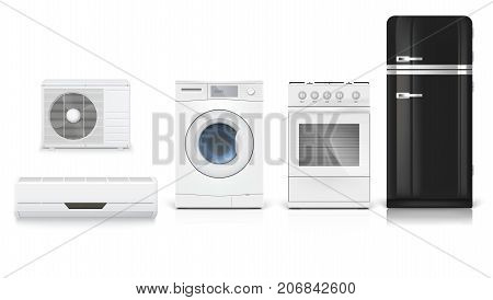 Air conditioning, washing machine, gas hob and black fridge, isolated 3D illustration with realistic shadows and reflections. Set icons of household appliances on a white background.