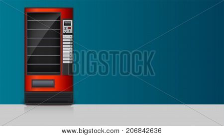 Vending machine for the sale of snacks, soda or foods. Template for advertising poster with detailed drawings red machine for sales to a two-color background with place for message, 3D illustration.