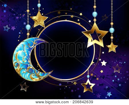 Round banner with a jewel crescent and gold stars on gold chains on a luminous cosmic background. Golden Star. Jewelry crescent.