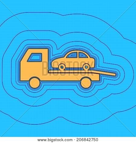 Tow car evacuation sign. Vector. Sand color icon with black contour and equidistant blue contours like field at sky blue background. Like waves on map - island in ocean or sea.