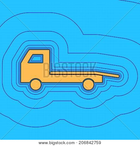 Service of evacuation sign. Wrecking car side. Car evacuator. Vehicle towing. Vector. Sand color icon with black contour and equidistant blue contours like field at sky blue background. Like waves on map - island in ocean or sea.