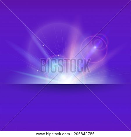 Abstract space background with light rays and lens flare backdrop. Glow light effect. Dynamic digital backdrop with Star burst with sparkles and place rot text. Vector 3D illustration.