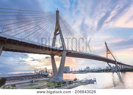 beauty of the Bhumibol bridge image before twilight sunset bangkok thailand