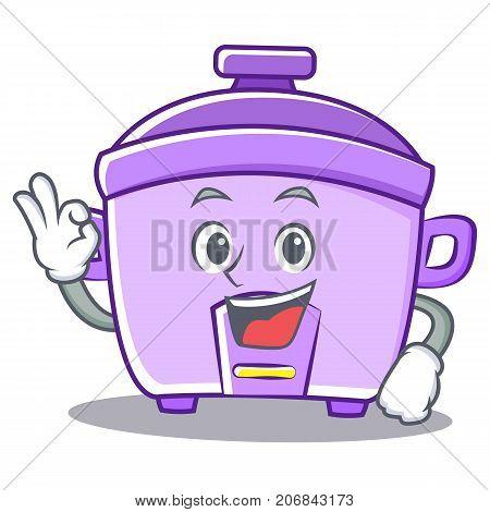 Okay rice cooker character cartoon vector illustration