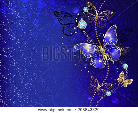 Dark blue velvety background decorated with sapphire jewelry butterfly. Golden Butterfly Morpho.