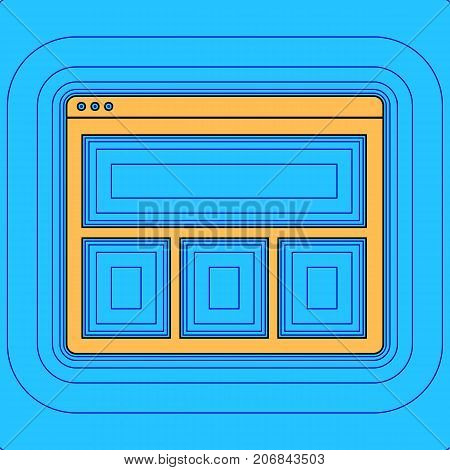 Web window sign. Vector. Sand color icon with black contour and equidistant blue contours like field at sky blue background. Like waves on map - island in ocean or sea.