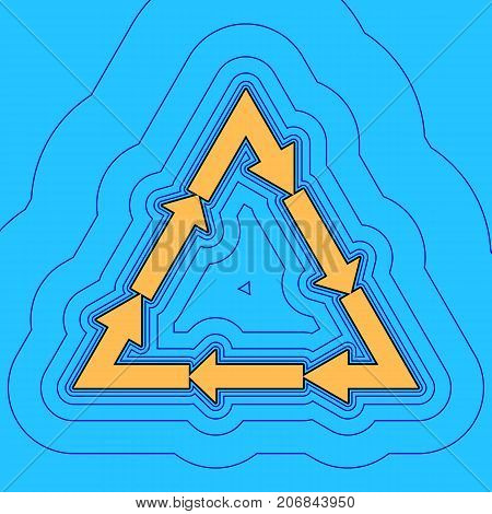 Plastic recycling symbol PVC 3 , Plastic recycling code PVC 3. Vector. Sand color icon with black contour and equidistant blue contours like field at sky blue background. Like waves on map - island in ocean or sea.