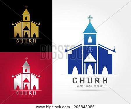 Template logo church as the church building on white background.Church house logoVector illustration