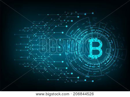 Abstract futuristic digital money with logo bitcoin digital currency on blue background technology worldwide network concept.