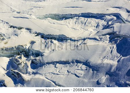 Glacier with striations, crevices, and cracking Theodul Glacier Matterhorn, Zermatt, Switzerland