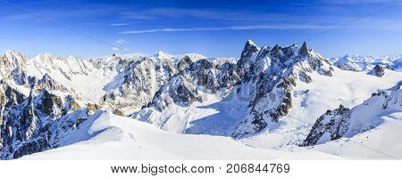 Mont Blanc mountain, view from Aiguille du Midi Mount at the Grandes Jorasses  in the french alps above Chamonix