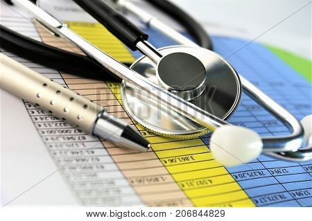 An concept Image of a medical clipboard with different Charts and scenario