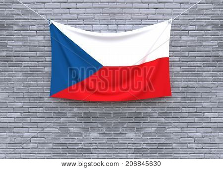 Czech Republic flag hanging on brick wall. 3D illustration