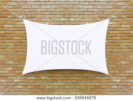 Cloth banner hanging on brick wall. 3D illustration