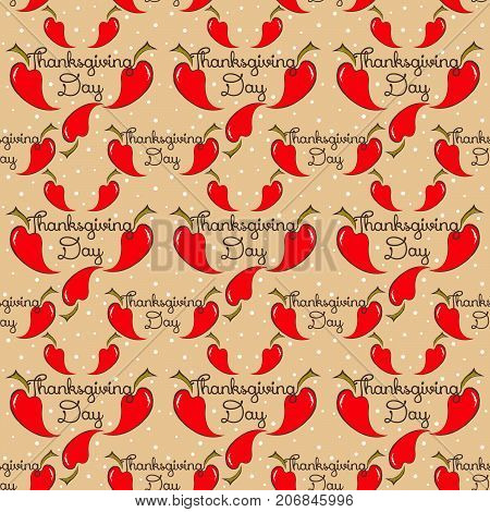 thanksgiving seamless pattern with red pepper. vector
