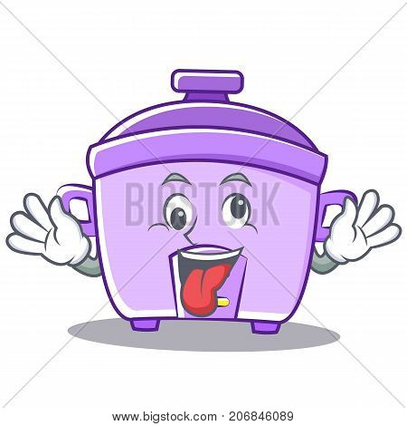 Crazy rice cooker character cartoon vector illustration