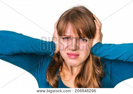 Stressed Woman Covering Her Ears To Protect From Loud Noise