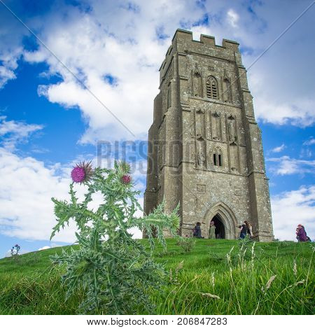 The medieval church tower on Glastonbury Tor, England.