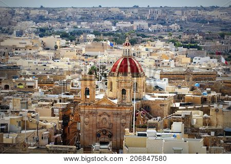 View over the city of Victoria or Rabat at Gozo, the neighboring island of Malta .