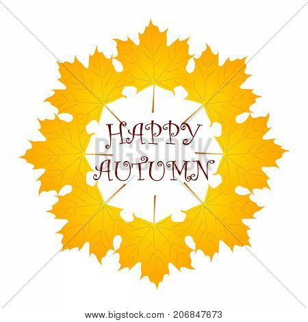 autumn background with yellow leaf. vector. isolated
