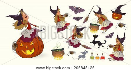 Set of illustrations for Halloween. Young funny witch pot with potion broom pumpkin spider cat mouse rat bat witch's hat poison. Trick or treat. Collection of characters for Halloween Vector