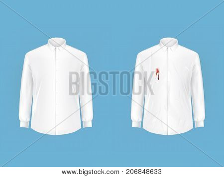 Pare of crumpled, contaminated with wine, blood or ketchup stain and ironed, clean white shirts realistic vector. Clothing before, after washing, stain removal concept for landry, dry-cleaning ad