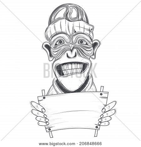Funny ape in hat with toothy smiling face holding blank wooden board for announcement or message line art vector illustration isolated on white. Comic mammal animal character for advertising design