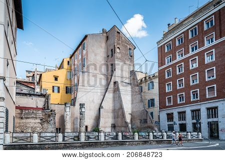 Rome, Italy - August 20, 2016: Temple of Nymphs. It was a temple in ancient Rome dedicated to the Nymphs. It is in the ancient Campus Martius