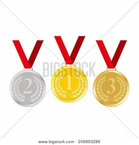 Medal icon set. Gold silver and bronze medal with ribbon isolated on white background. 1st 2nd 3rd place award or winner sign. Vector illustration.