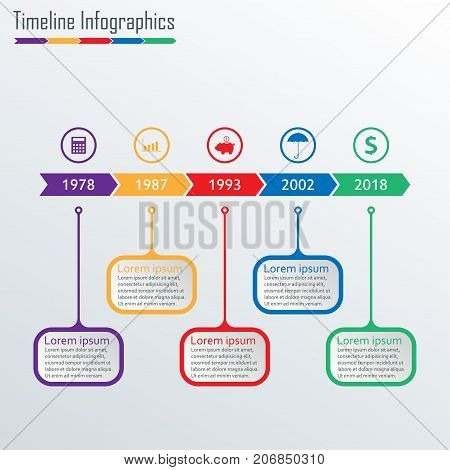 Timeline Infographics template with icons. Horizontal Timeline Infographic design elements. Colorful vector illustration.