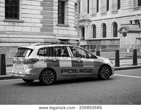 Police Car In London Black And White