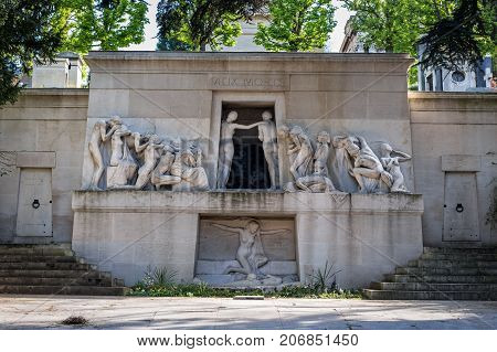 Monument Aux Morts At Pere Lachaise Cemetery In Paris