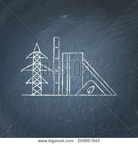 Biomass recycling plant icon sketch on chalkboard. Renewable energy power station symbol - chalk drawing on blackboard. Alternative energy concept.