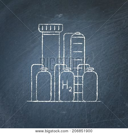 Hydrogen plant icon sketch on chalkboard. Renewable energy production symbol - chalk drawing on blackboard.