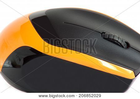 Modern wireless computer mouse isolated on a white background. Closeup.