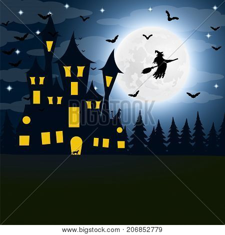 Halloween, the witch s house on the full moon. vector
