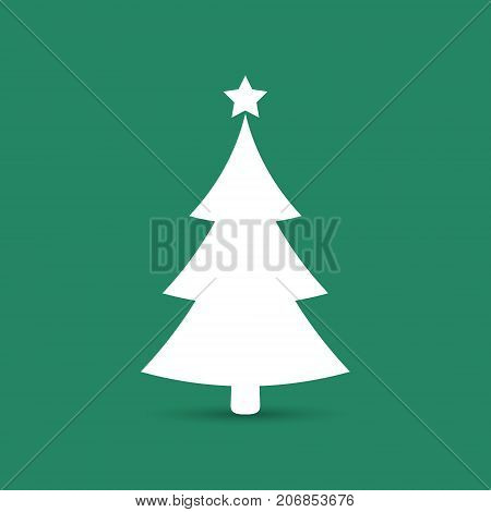 Christmas tree icon vector simple design. White symbol of fir-tree isolated on green.
