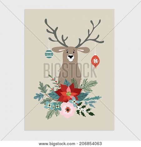 Traditional Christmas, New Year greeting card, invitation. Hand drawn illustration of reindeer with Christmas balls. Floral bouquet made of holly, poinsettia, fir tree branches, vector background.