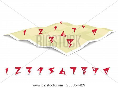 GPS navigation on a three dimensional flat map set of creative numbers. Vector illustration.