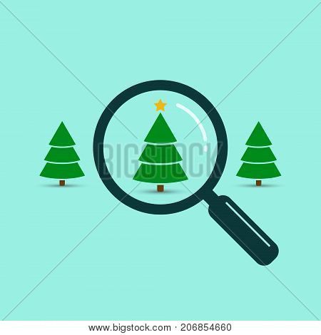 Search christmas tree with magnifying glass vector color illustration. Find your suitable Fir-tree among other trees. Bying christmas tree illustration.