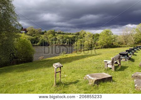 Picnic tables at the Lower Lliw Reservoir Cafe & Fishery near Felindre