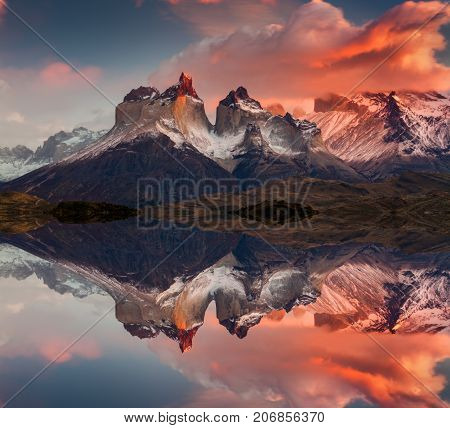 Sunrise in Torres del Paine National Park, Lake Pehoe and Cuernos mountains, Patagonia, Chile.